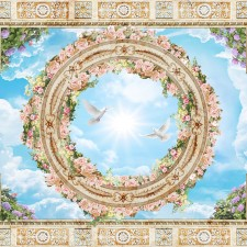 Ceiling,With,Blue,Sky,Ornaments,And,Flowers